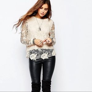 Free People Pretty Rad Beige Floral Crochet Knit M